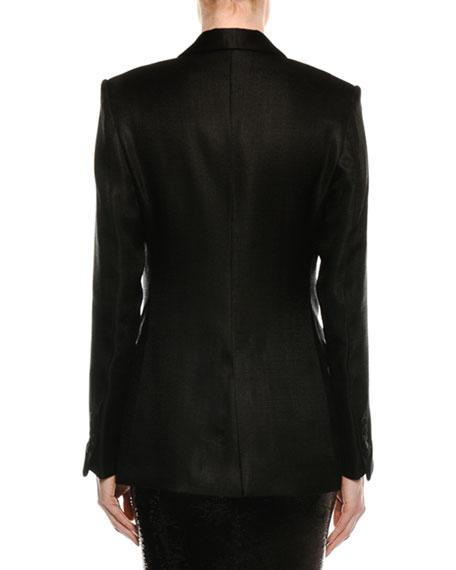 Shawl-Collar One-Button Crepe Blazer
