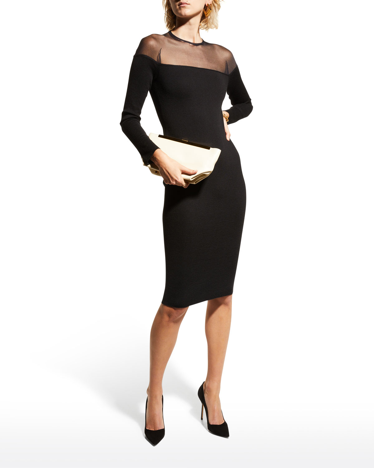 f11a47ebbab TOM FORD Round-Neck Illusion-Yoke Silk Knit Cocktail Dress