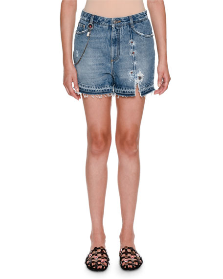 Embellished Five-Pocket Jean Shorts
