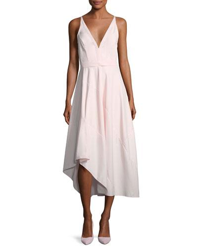 Sleeveless Belted Asymmetric Dress