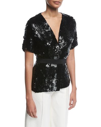 Sequined Silk Short-Sleeve Jacket