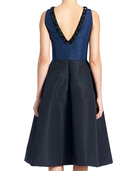 Sleeveless High-Neck 2-Tone Cocktail Dress w/ Embroidery