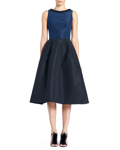 Carolina Herrera Sleeveless High-Neck 2-Tone Cocktail Dress w/