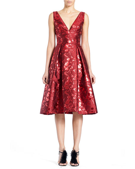 Carolina Herrera Sleeveless V-Neck Floral-Jacquard Cocktail Dress