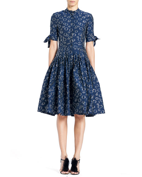 Carolina Herrera Button-Front Short-Sleeve Cocktail Shirtdress