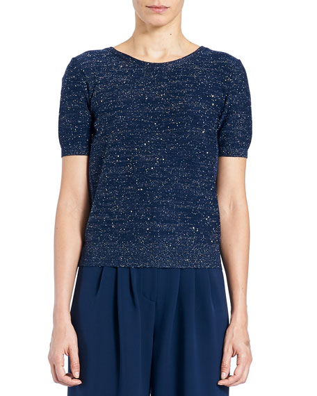 Carolina Herrera Lurex® Crewneck Tieback Short-Sleeve Sweater