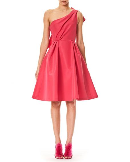 Carolina Herrera One-Shoulder Cocktail Dress with Back Bow
