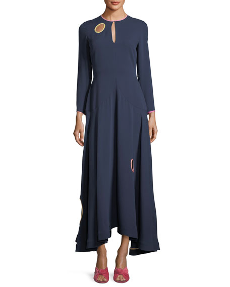 ROKSANDA Long-Sleeve Circle-Cutout Midi Dress