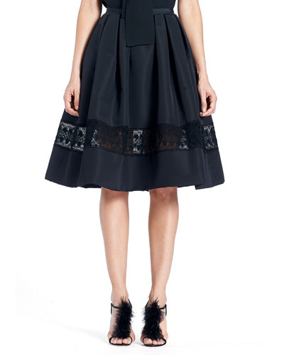 Full Silk Faille Cocktail Skirt with Lace Inset