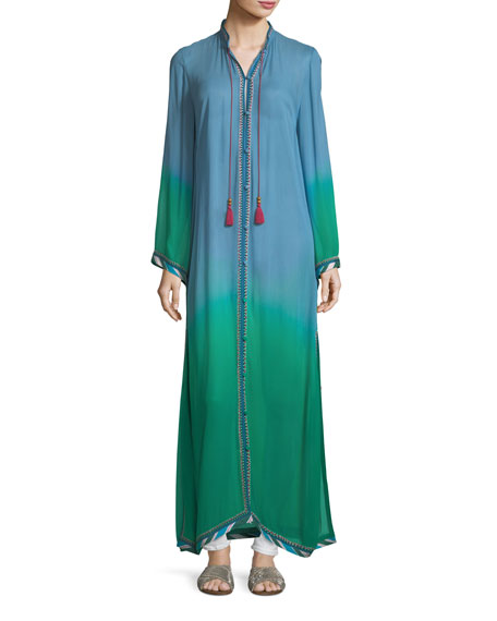 Fatima Button-Front Long-Sleeve Ombre Robe Caftan