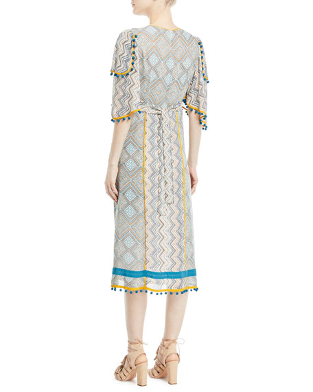 Deep-V Kimono-Sleeve Printed A-Line Midi Dress