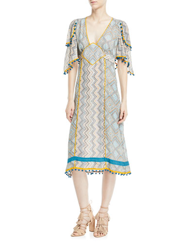 bc88cca4d4b Deep-V Kimono-Sleeve Printed A-Line Midi Dress