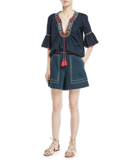 Jeweled Embroidery High-Waist Cotton Twill Shorts