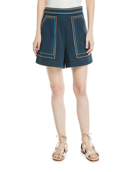 Talitha Collection Jeweled Embroidery High-Waist Cotton Twill