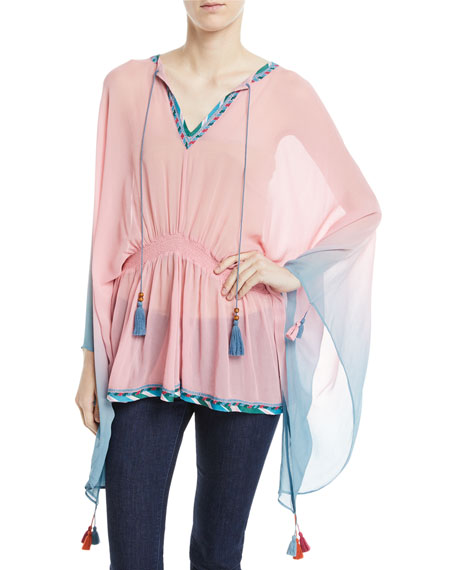Seema Draped Sleeve Ombre-Print Caftan Top