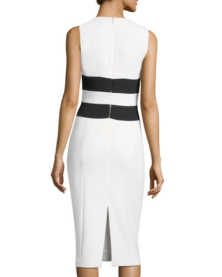 Sleeveless Contrast X Sheath Dress