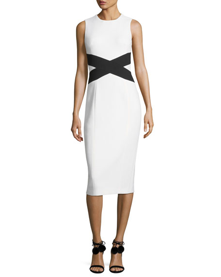 Michael Kors Collection Sleeveless Contrast X Sheath Dress