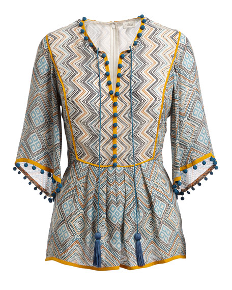 Talitha Collection Three-Quarter Flutter Sleeve Printed Lace-Up Tunic