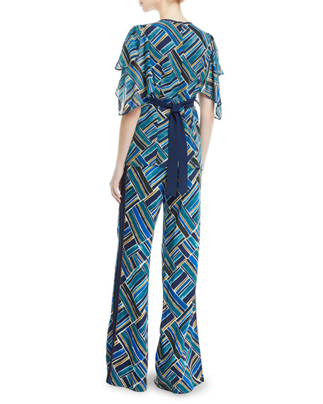 Talitha Collection Painted-Print Hanky-Sleeve Silk Tunic