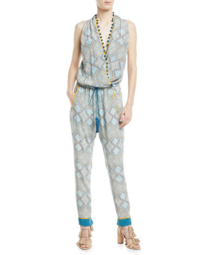Sleeveless Twisted Racerback Printed Jumpsuit with Pompom Trim