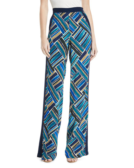 TALITHA Painted Jasmin Graphic-Print Wide-Leg Trousers in Blue Multi