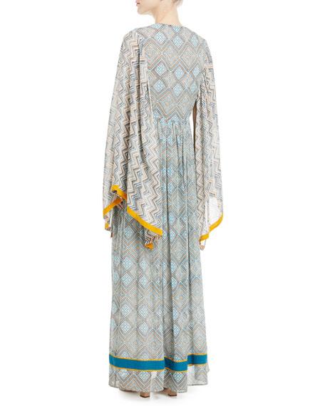 Jasmin Lace-Up Front Long Kimono Silk Caftan with Pompom Trim