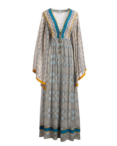 Talitha Collection Jasmin Lace-Up Front Long Kimono Silk Caftan with Pompom Trim