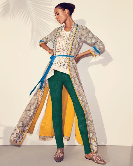 Print Robe Coat with Rope Belt & Pompom Trim