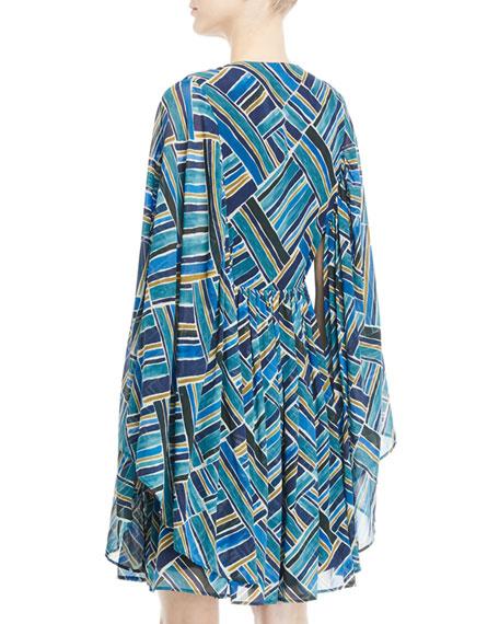 Lace-Up Front Kimono Sleeves Short Silk Printed Caftan