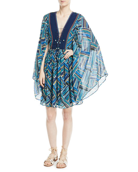 TALITHA Lace-Up Front Kimono Sleeves Short Silk Printed Caftan in Blue Multi