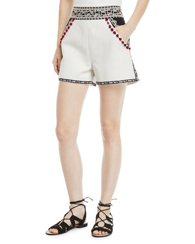 Moroccan-Embroidered Tailored Twill Shorts