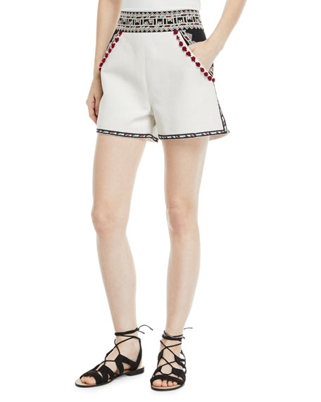 Talitha Collection Moroccan-Embroidered Tailored Twill Shorts