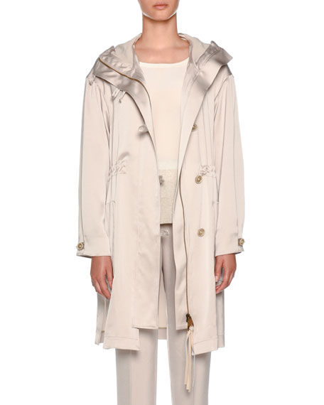 Knee-Length Hooded Sateen Anorak Jacket