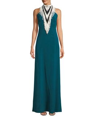 d541c5d323 Talitha Collection Mock-Neck Sleeveless Beaded Halter Silk Evening Gown
