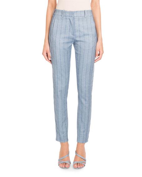 Straight-Leg Striped Cotton-Linen Pants