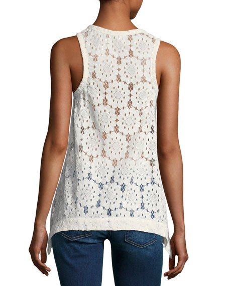 Sleeveless Embroidered Paillette Floral-Lace Blouse