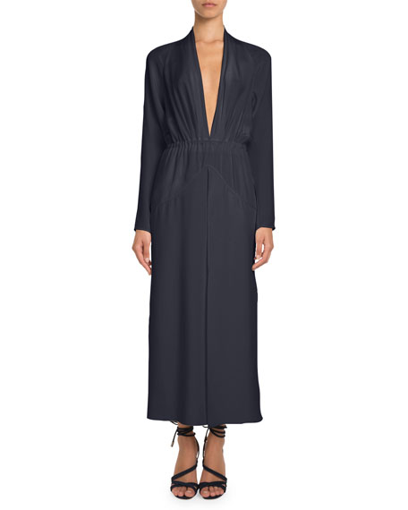 Pascal Millet Plunging Long-Sleeve Ankle-Length Silk Dress