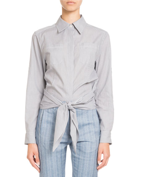 Image 1 of 2: Button-Front Striped Tie-Waist Cotton Blouse