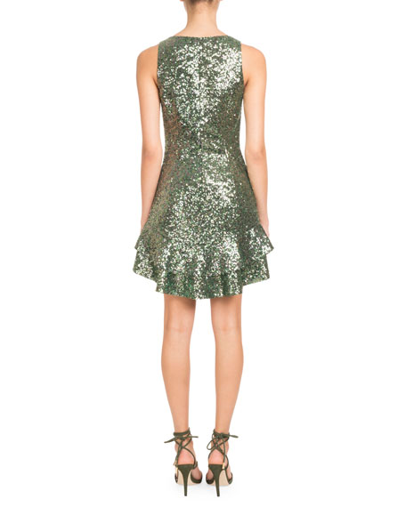 Image 2 of 2: Sleeveless Lace-Up Sequin Mini Cocktail Dress