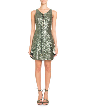 22683cd43c6 Pascal Millet Sleeveless Lace-Up Sequin Mini Cocktail Dress