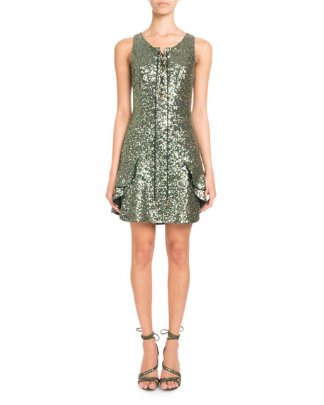 Image 1 of 2: Sleeveless Lace-Up Sequin Mini Cocktail Dress