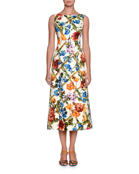 Bamboo Climbing Flowers Brocade Dress