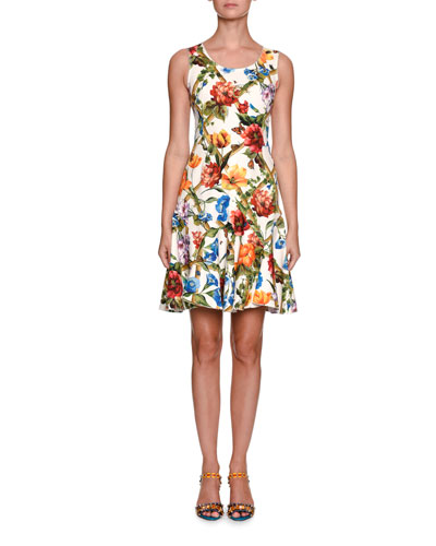 Sleeveless Scoop-Neck Bamboo Climbing Flowers Print Mini Dress