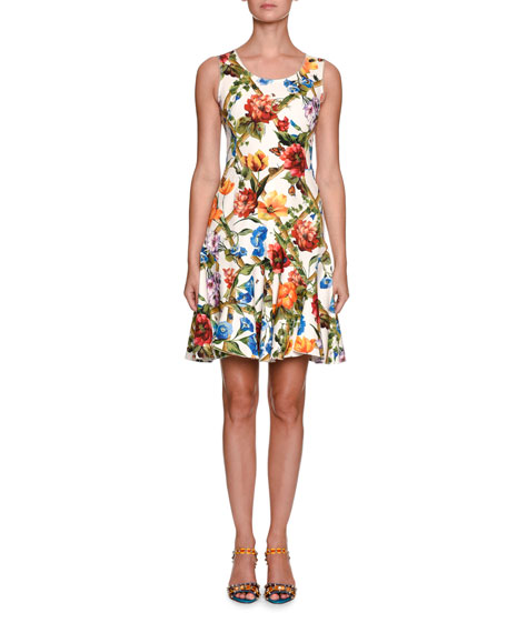 Sleeveless Scoop-Neck Bamboo Climbing Flowers Print Mini Dress