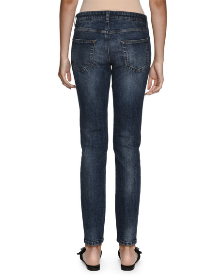 Sacred Heart Low-Rise Faded Mid-Wash Denim Jeans