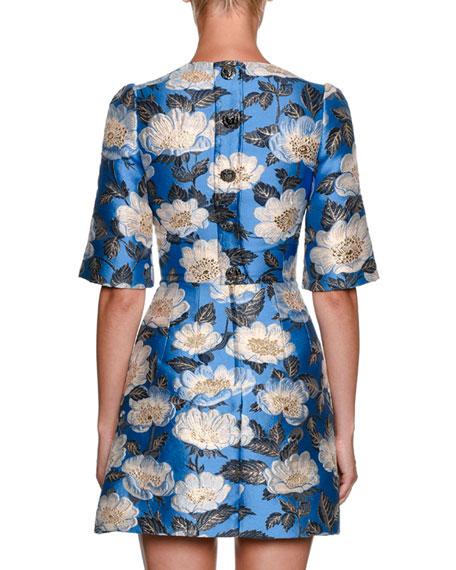 High-Neck Elbow-Sleeve Jacquard Cocktail Dress