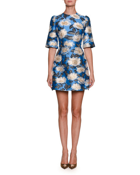 Dolce & Gabbana High-Neck Elbow-Sleeve Jacquard Cocktail Dress
