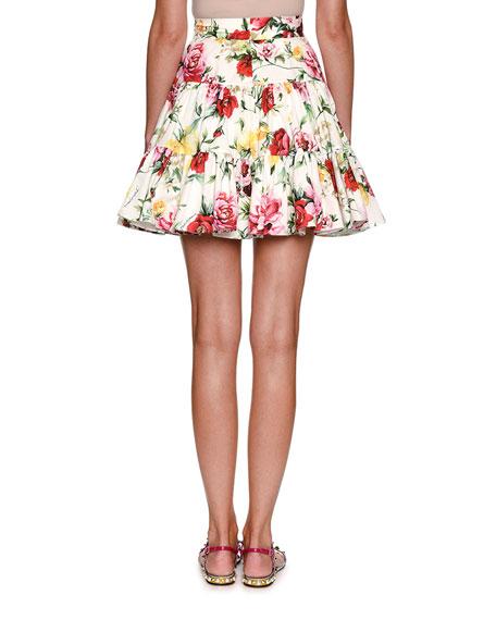 High-Waist Floral-Print Poplin Skirt