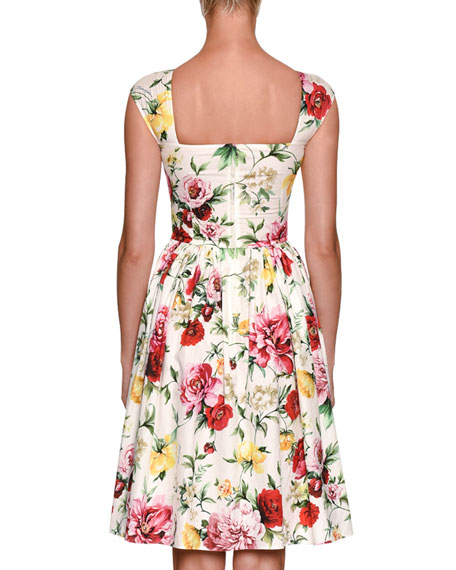 Sleeveless High-Neck Floral-Print Cotton Midi Dress