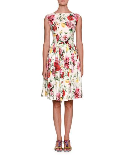 Sleeveless High-Neck Floral-Print Cotton Midi Dress